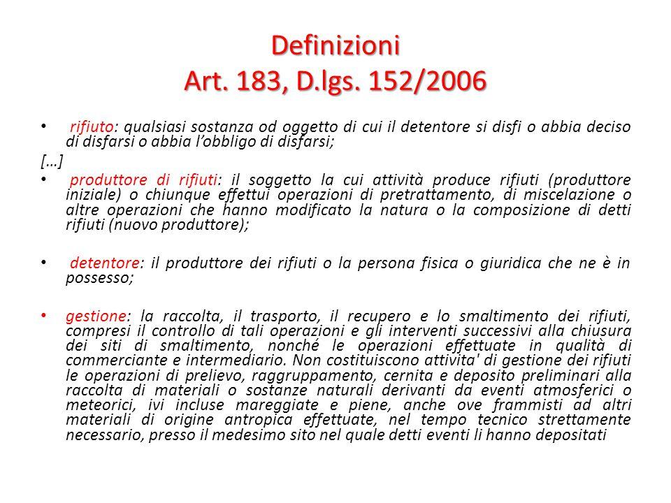 Definizioni Art. 183, D.lgs. 152/2006 rifiuto: qualsiasi sostanza od oggetto di cui il detentore si disfi o abbia deciso di disfarsi o abbia l'obbligo