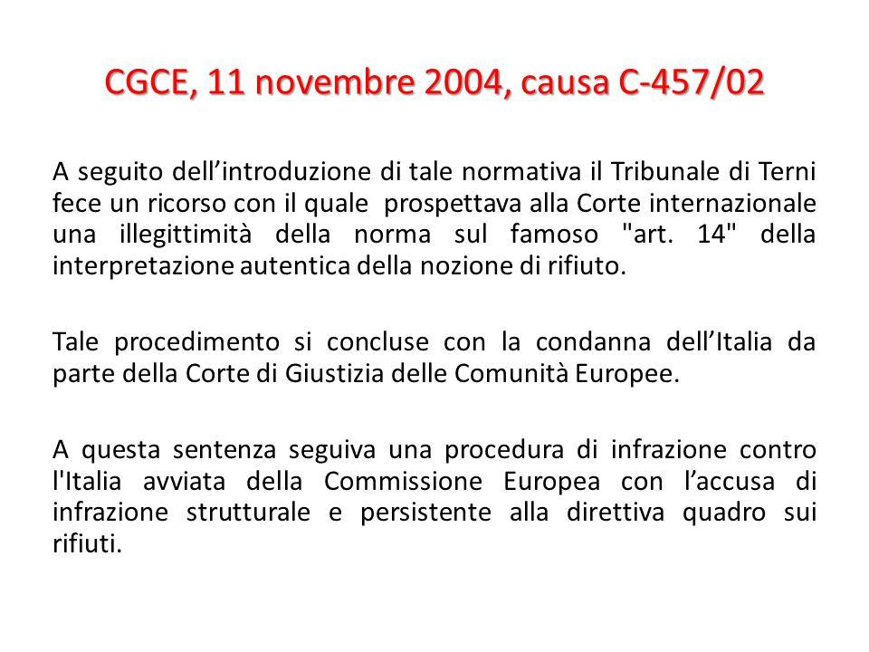 CGCE, 11 novembre 2004, causa C-457/02 A seguito dell'introduzione di tale normativa il Tribunale di Terni fece un ricorso con il quale prospettava alla Corte internazionale una illegittimità della norma sul famoso art.