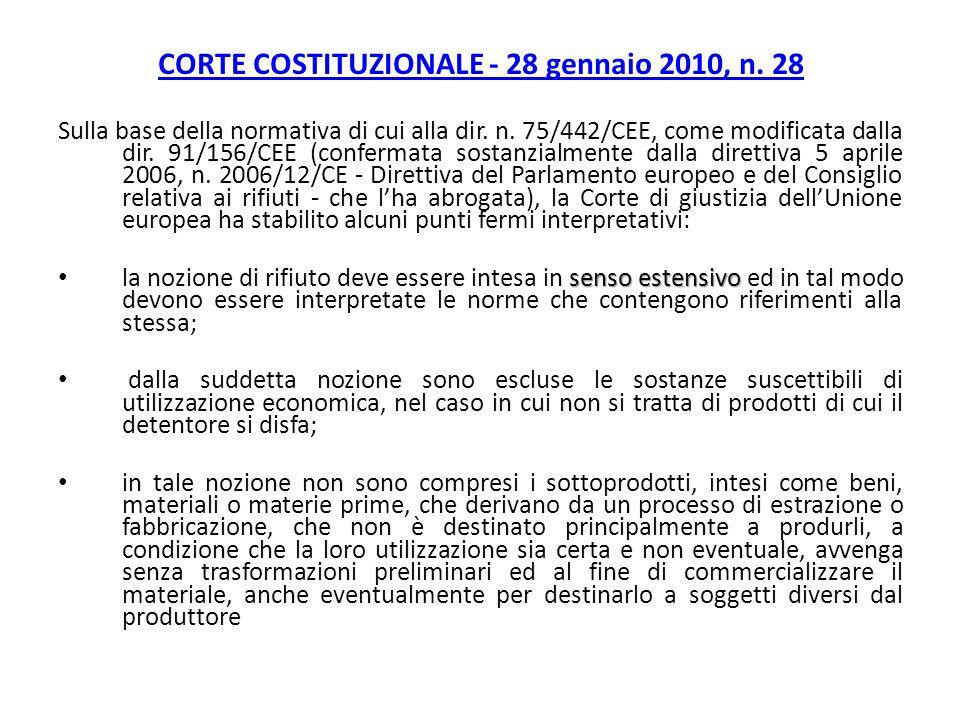 CORTE COSTITUZIONALE - 28 gennaio 2010, n. 28 Sulla base della normativa di cui alla dir. n. 75/442/CEE, come modificata dalla dir. 91/156/CEE (confer