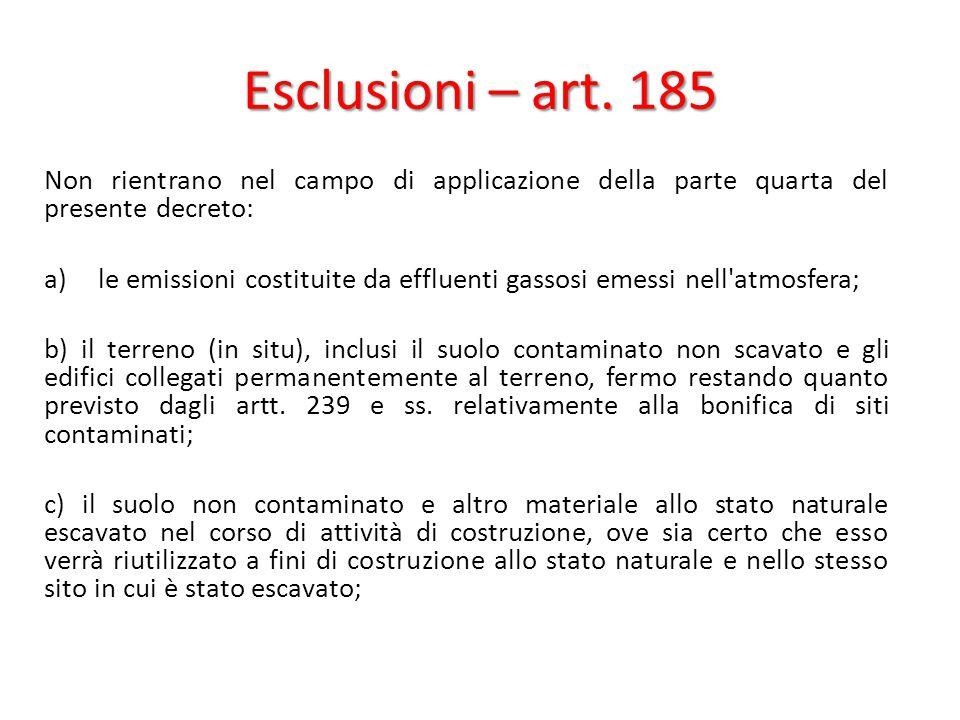 Esclusioni – art. 185 Non rientrano nel campo di applicazione della parte quarta del presente decreto: a)le emissioni costituite da effluenti gassosi