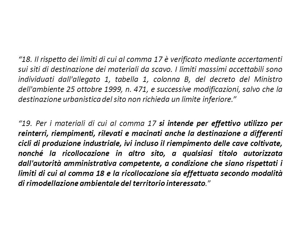 """""""18. Il rispetto dei limiti di cui al comma 17 è verificato mediante accertamenti sui siti di destinazione dei materiali da scavo. I limiti massimi ac"""