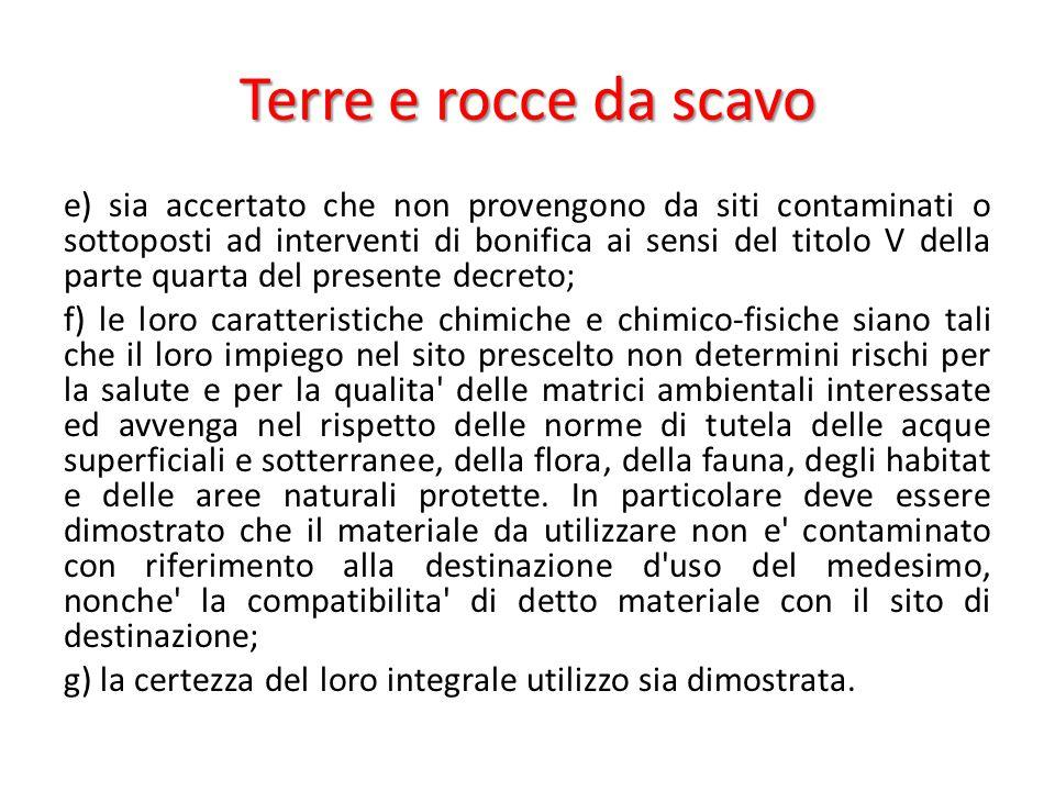 Terre e rocce da scavo e) sia accertato che non provengono da siti contaminati o sottoposti ad interventi di bonifica ai sensi del titolo V della part