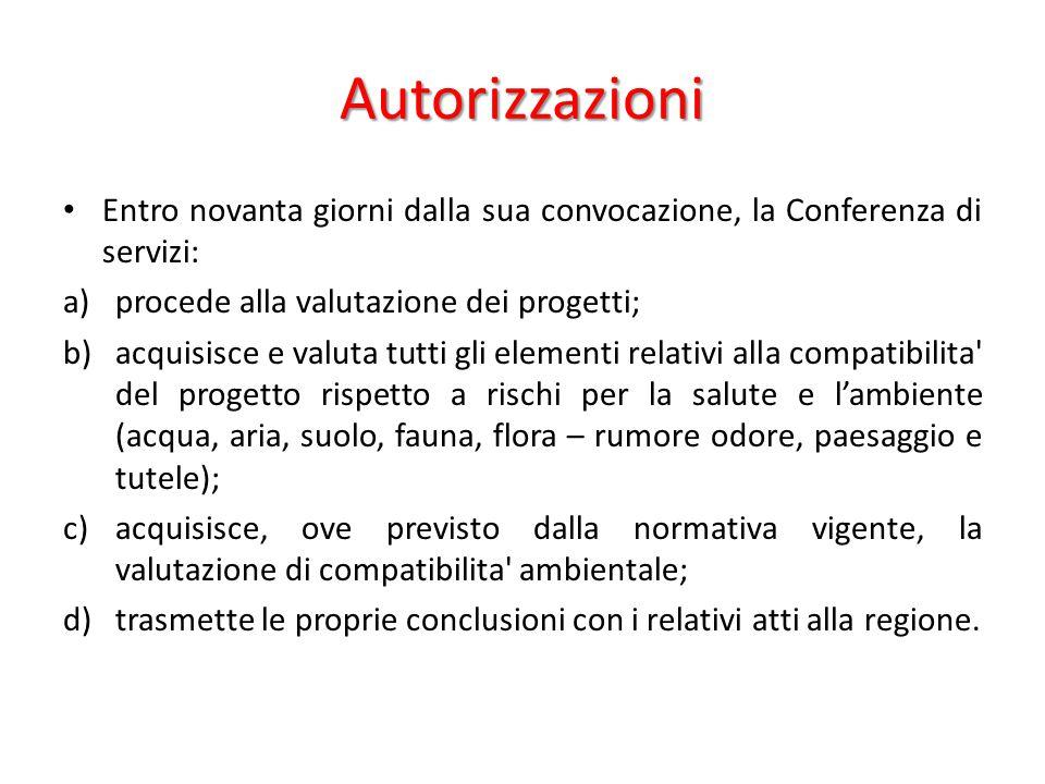 Autorizzazioni Entro novanta giorni dalla sua convocazione, la Conferenza di servizi: a)procede alla valutazione dei progetti; b)acquisisce e valuta t