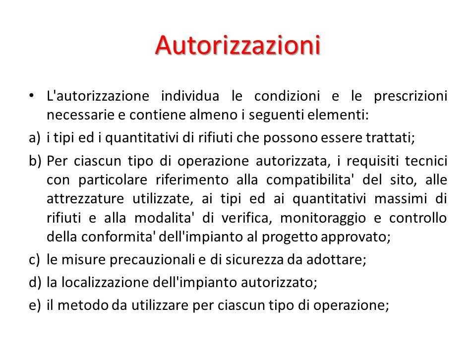 Autorizzazioni L'autorizzazione individua le condizioni e le prescrizioni necessarie e contiene almeno i seguenti elementi: a)i tipi ed i quantitativi
