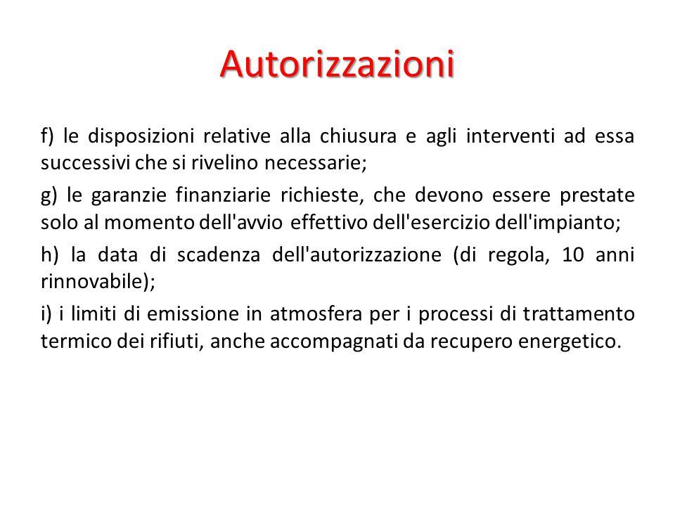 Autorizzazioni f) le disposizioni relative alla chiusura e agli interventi ad essa successivi che si rivelino necessarie; g) le garanzie finanziarie r