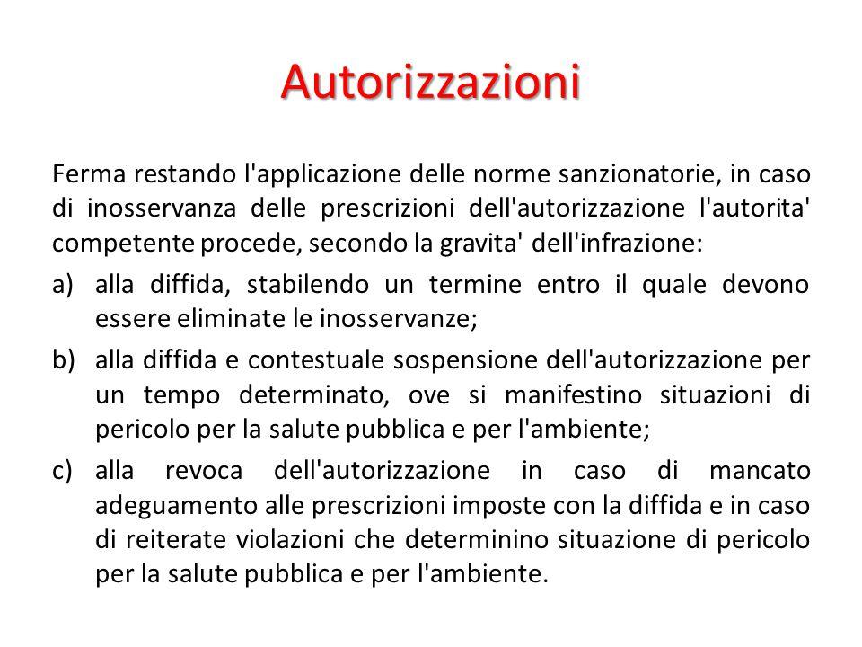 Autorizzazioni Ferma restando l'applicazione delle norme sanzionatorie, in caso di inosservanza delle prescrizioni dell'autorizzazione l'autorita' com