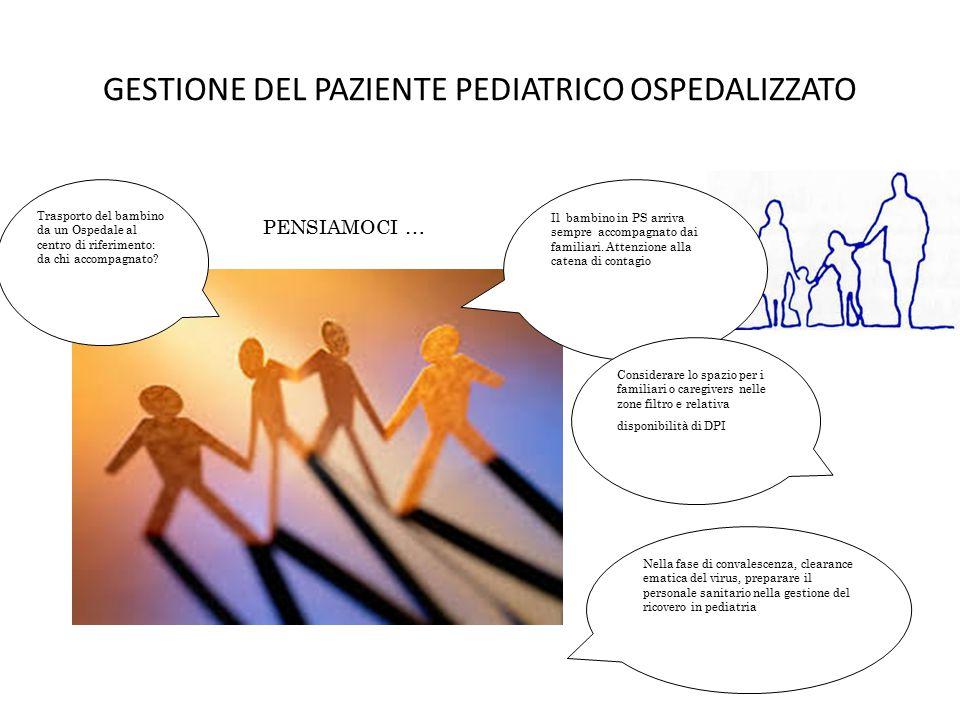 GESTIONE DEL PAZIENTE PEDIATRICO OSPEDALIZZATO Il bambino in PS arriva sempre accompagnato dai familiari.