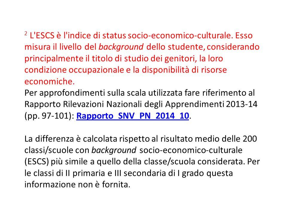 2 L'ESCS è l'indice di status socio-economico-culturale. Esso misura il livello del background dello studente, considerando principalmente il titolo d