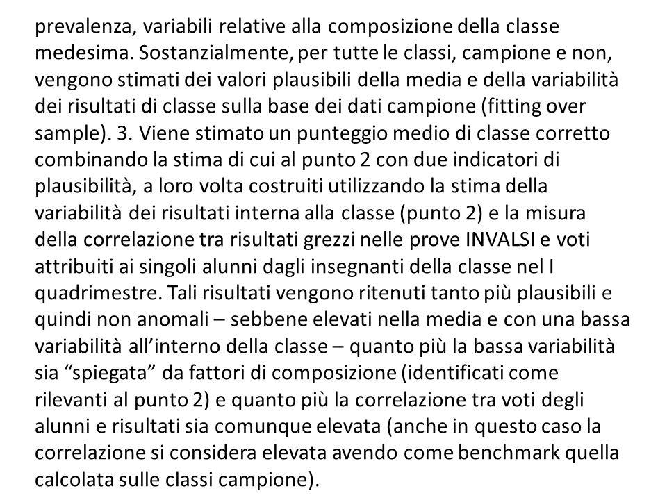 prevalenza, variabili relative alla composizione della classe medesima. Sostanzialmente, per tutte le classi, campione e non, vengono stimati dei valo