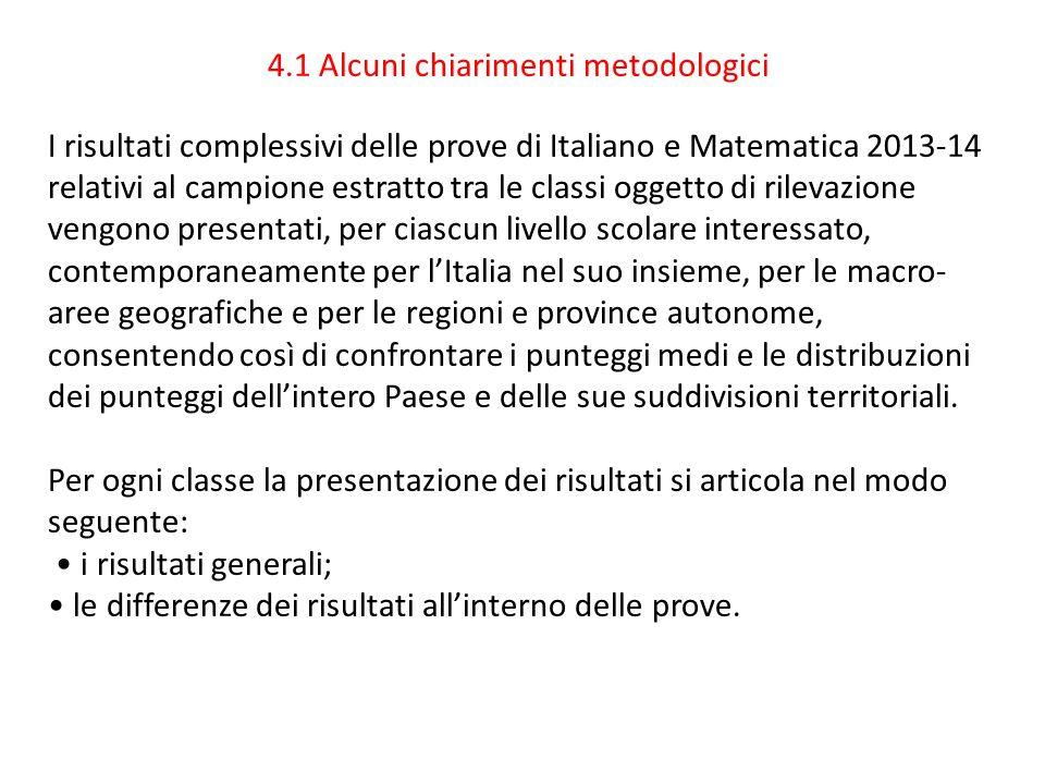 4.1 Alcuni chiarimenti metodologici I risultati complessivi delle prove di Italiano e Matematica 2013-14 relativi al campione estratto tra le classi o
