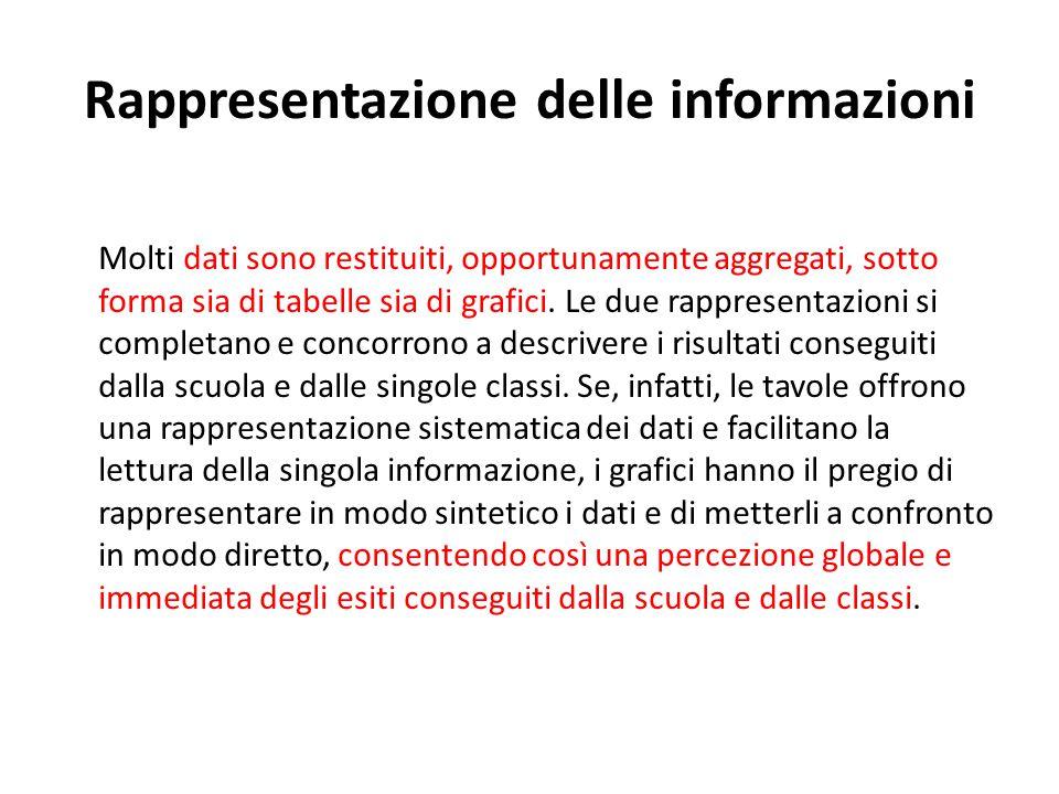 Rappresentazione delle informazioni Molti dati sono restituiti, opportunamente aggregati, sotto forma sia di tabelle sia di grafici. Le due rappresent