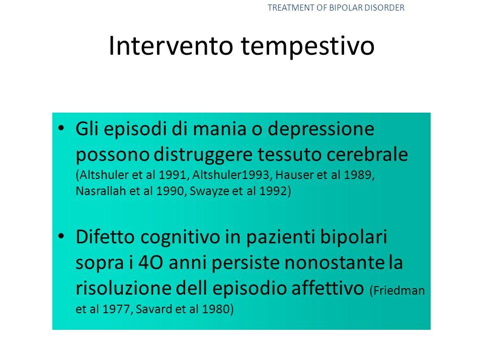 Intervento tempestivo Gli episodi di mania o depressione possono distruggere tessuto cerebrale (Altshuler et al 1991, Altshuler1993, Hauser et al 1989