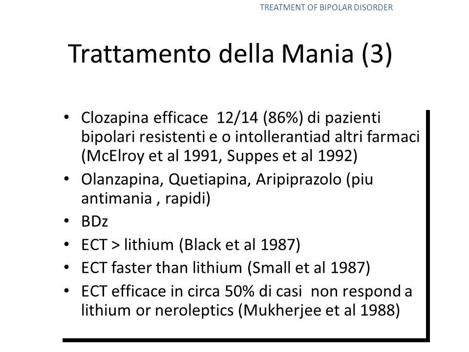 Clozapina efficace 12/14 (86%) di pazienti bipolari resistenti e o intollerantiad altri farmaci (McElroy et al 1991, Suppes et al 1992) Olanzapina, Qu