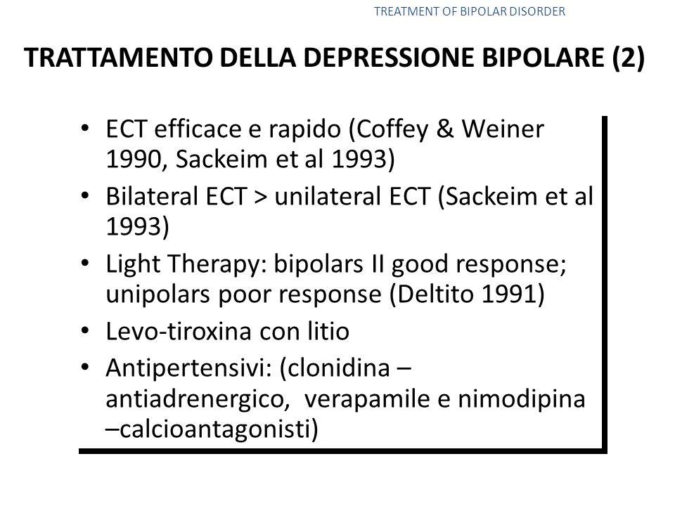 ECT efficace e rapido (Coffey & Weiner 1990, Sackeim et al 1993) Bilateral ECT > unilateral ECT (Sackeim et al 1993) Light Therapy: bipolars II good response; unipolars poor response (Deltito 1991) Levo-tiroxina con litio Antipertensivi: (clonidina – antiadrenergico, verapamile e nimodipina –calcioantagonisti) ECT efficace e rapido (Coffey & Weiner 1990, Sackeim et al 1993) Bilateral ECT > unilateral ECT (Sackeim et al 1993) Light Therapy: bipolars II good response; unipolars poor response (Deltito 1991) Levo-tiroxina con litio Antipertensivi: (clonidina – antiadrenergico, verapamile e nimodipina –calcioantagonisti) TREATMENT OF BIPOLAR DISORDER TRATTAMENTO DELLA DEPRESSIONE BIPOLARE (2)