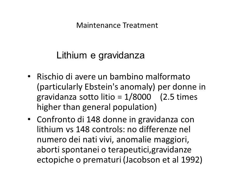 Maintenance Treatment Rischio di avere un bambino malformato (particularly Ebstein s anomaly) per donne in gravidanza sotto litio = 1/8000 (2.5 times higher than general population) Confronto di 148 donne in gravidanza con lithium vs 148 controls: no differenze nel numero dei nati vivi, anomalie maggiori, aborti spontanei o terapeutici,gravidanze ectopiche o prematuri (Jacobson et al 1992) Lithium e gravidanza