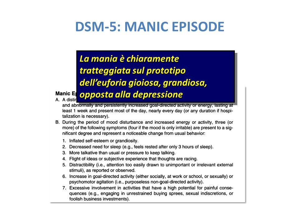 DSM-5: MANIC EPISODE La mania è chiaramente tratteggiata sul prototipo dell'euforia gioiosa, grandiosa, opposta alla depressione
