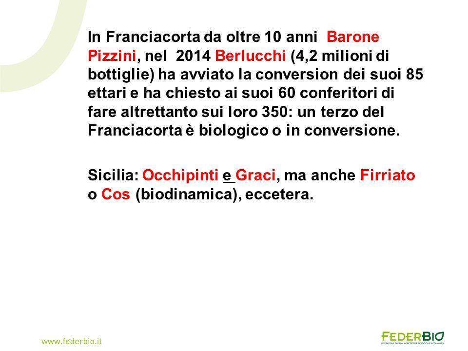 In Franciacorta da oltre 10 anni Barone Pizzini, nel 2014 Berlucchi (4,2 milioni di bottiglie) ha avviato la conversion dei suoi 85 ettari e ha chiest