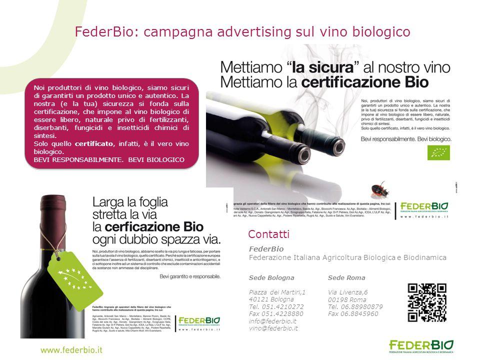 FederBio: campagna advertising sul vino biologico FederBio Federazione Italiana Agricoltura Biologica e Biodinamica Sede Bologna Piazza dei Martiri,1