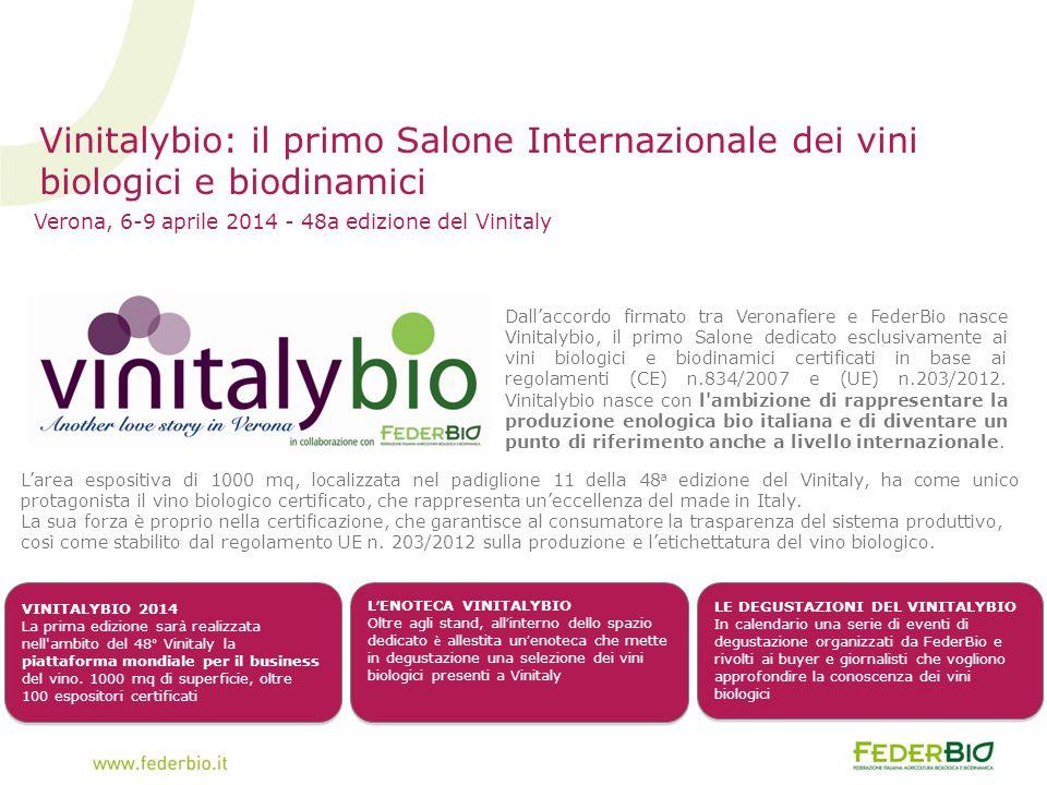 Verona, 6-9 aprile 2014 - 48a edizione del Vinitaly Vinitalybio: il primo Salone Internazionale dei vini biologici e biodinamici Dall'accordo firmato