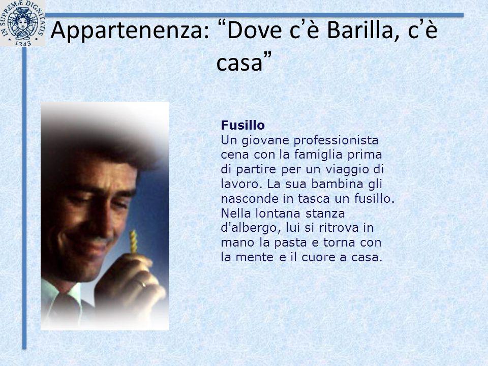 """Appartenenza: """" Dove c ' è Barilla, c ' è casa """" Fusillo Un giovane professionista cena con la famiglia prima di partire per un viaggio di lavoro. La"""