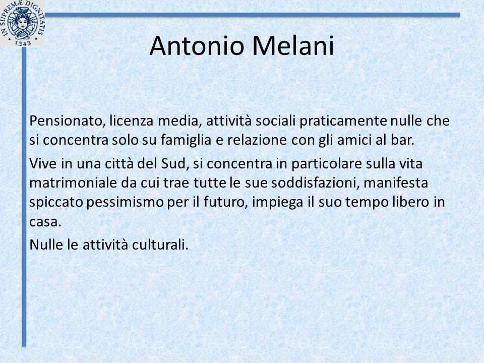 Antonio Melani Pensionato, licenza media, attività sociali praticamente nulle che si concentra solo su famiglia e relazione con gli amici al bar. Vive