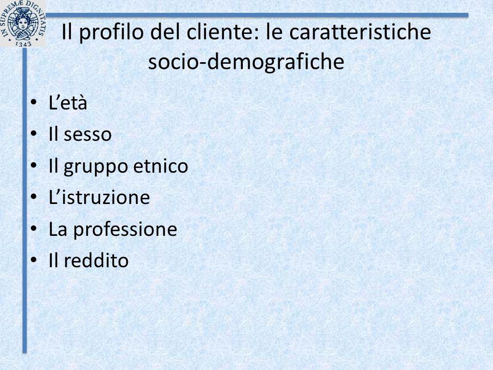 Il profilo del cliente: le caratteristiche socio-demografiche L'età Il sesso Il gruppo etnico L'istruzione La professione Il reddito