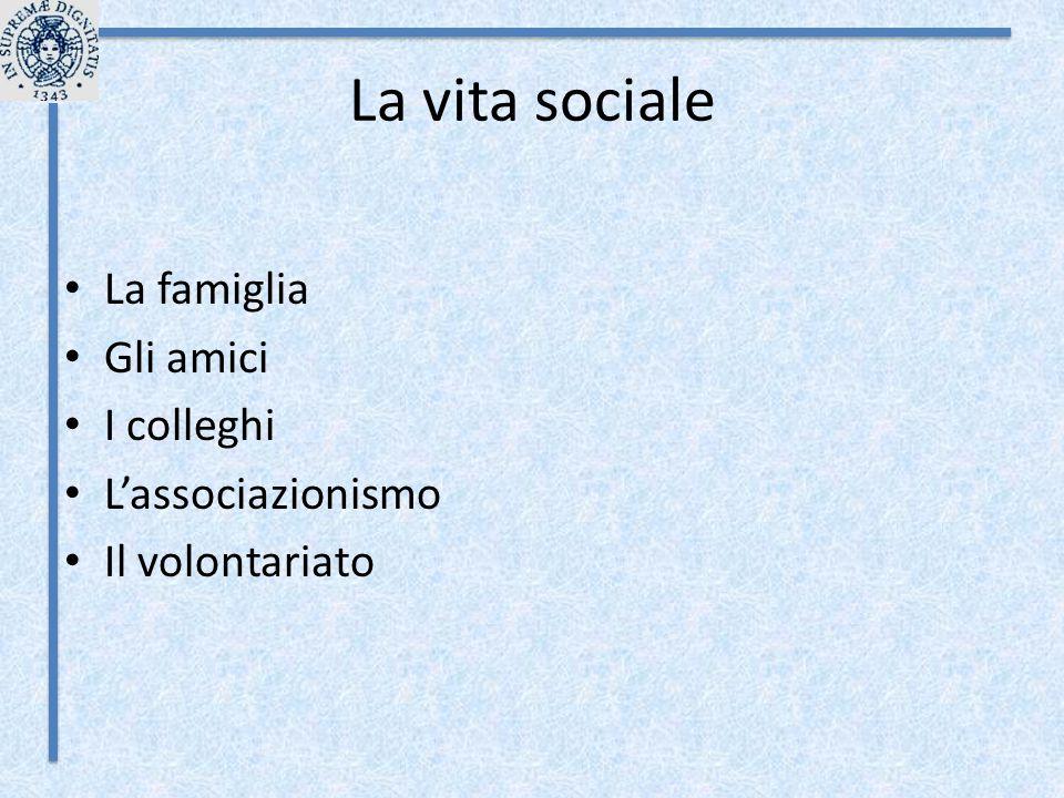 La vita sociale La famiglia Gli amici I colleghi L'associazionismo Il volontariato
