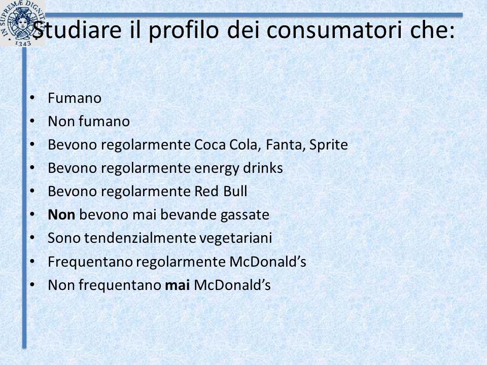 Studiare il profilo dei consumatori che: Fumano Non fumano Bevono regolarmente Coca Cola, Fanta, Sprite Bevono regolarmente energy drinks Bevono regol