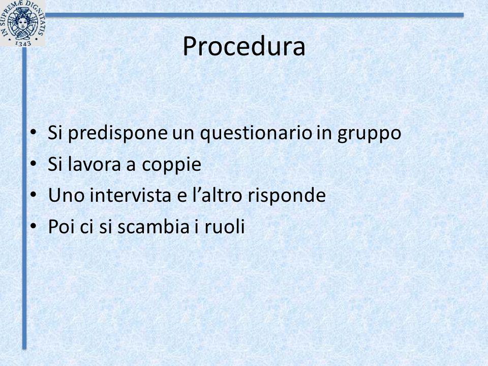 Procedura Si predispone un questionario in gruppo Si lavora a coppie Uno intervista e l'altro risponde Poi ci si scambia i ruoli
