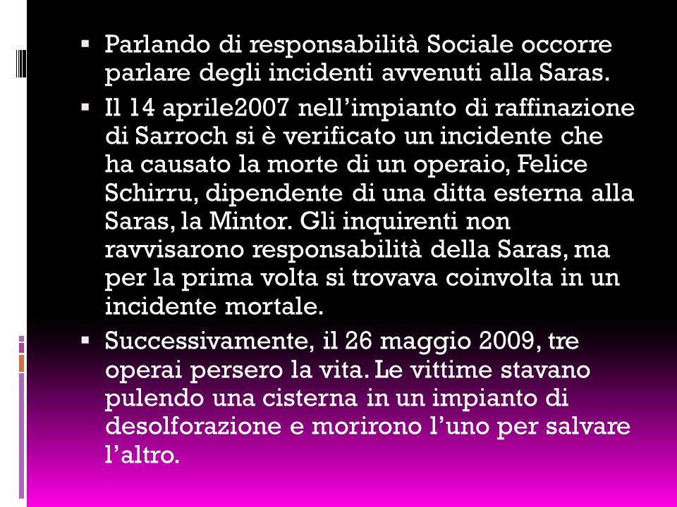  Parlando di responsabilità Sociale occorre parlare degli incidenti avvenuti alla Saras.