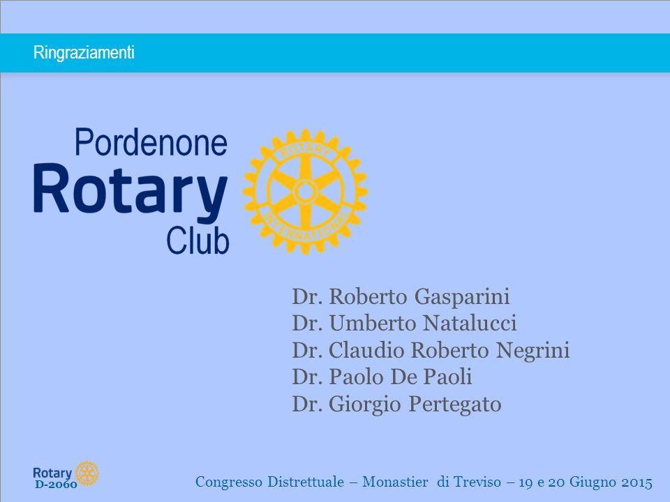 TITLE | 16 Ringraziamenti D-2060 Congresso Distrettuale – Monastier di Treviso – 19 e 20 Giugno 2015 Dr. Roberto Gasparini Dr. Umberto Natalucci Dr. C
