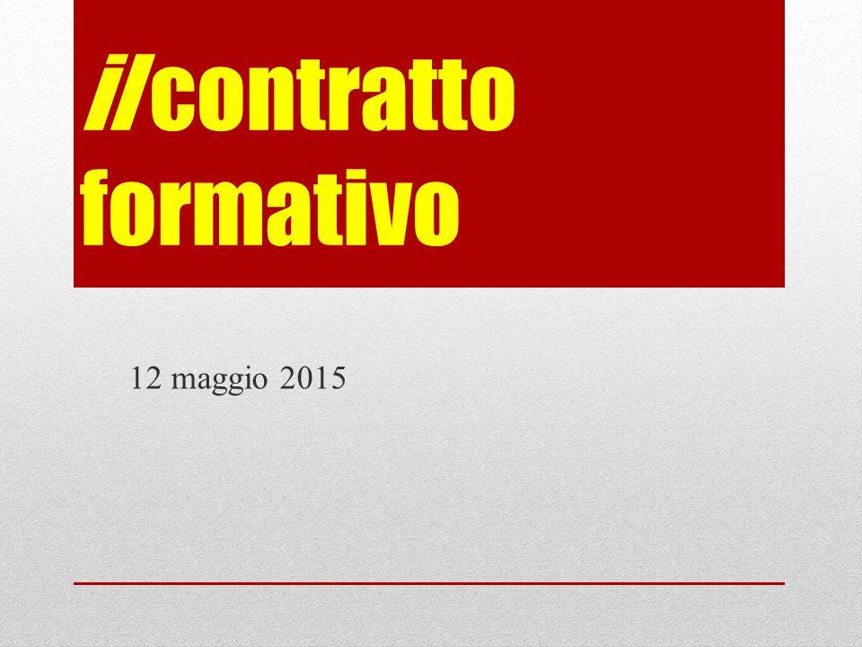 il contratto formativo 12 maggio 2015