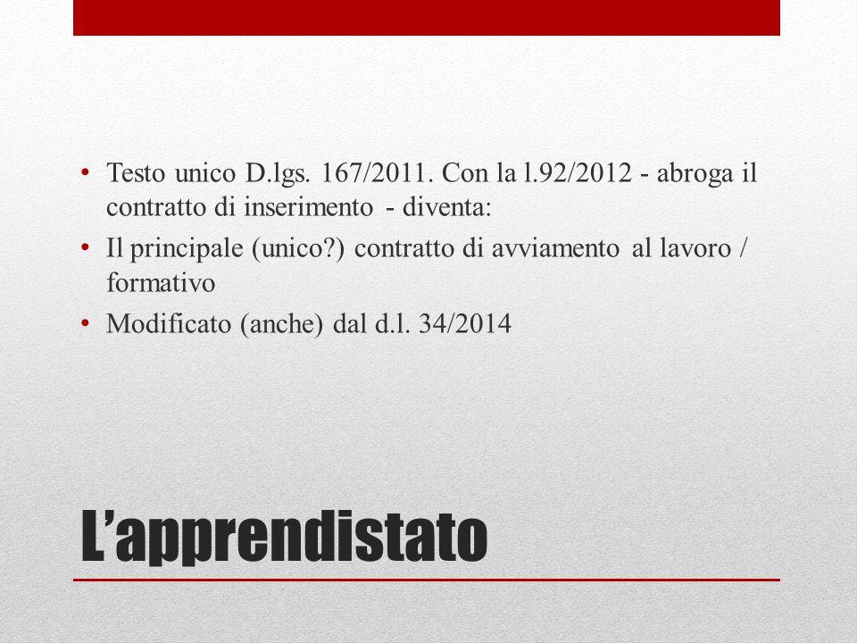 L'apprendistato Testo unico D.lgs. 167/2011.