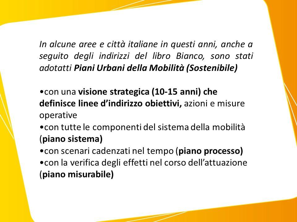 In alcune aree e città italiane in questi anni, anche a seguito degli indirizzi del libro Bianco, sono stati adotatti Piani Urbani della Mobilità (Sostenibile) con una visione strategica (10-15 anni) che definisce linee d'indirizzo obiettivi, azioni e misure operative con tutte le componenti del sistema della mobilità (piano sistema) con scenari cadenzati nel tempo (piano processo) con la verifica degli effetti nel corso dell'attuazione (piano misurabile)