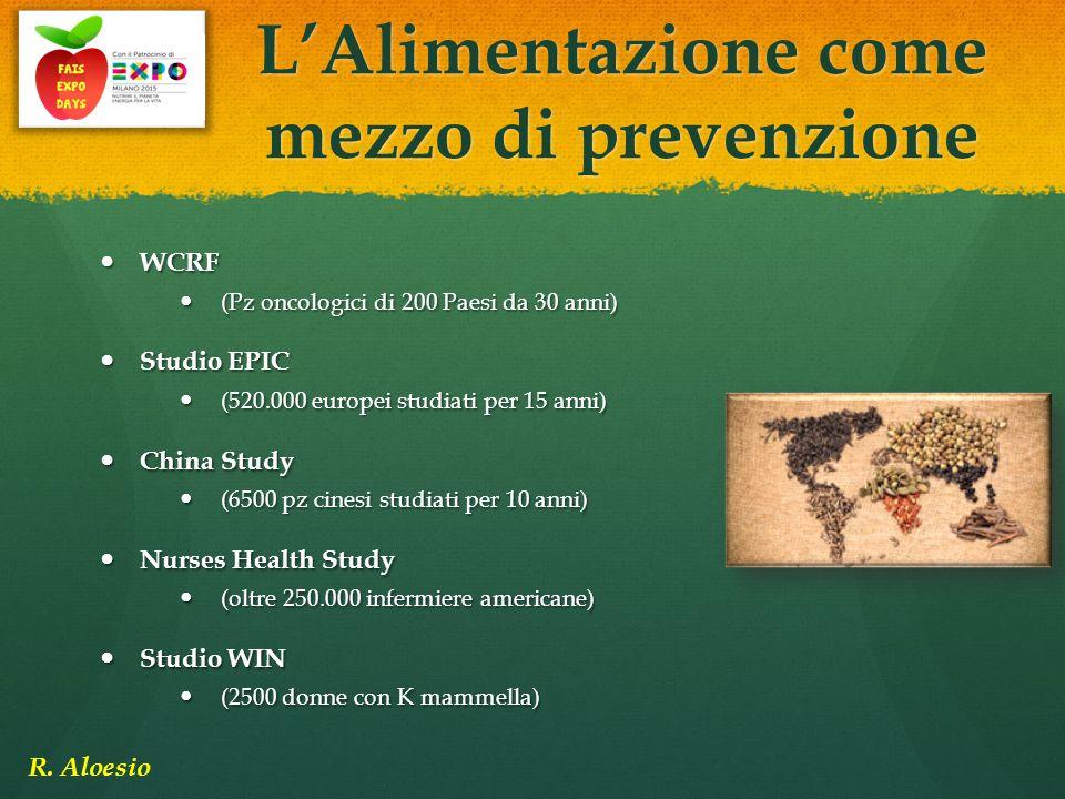 WCRF WCRF (Pz oncologici di 200 Paesi da 30 anni) (Pz oncologici di 200 Paesi da 30 anni) Studio EPIC Studio EPIC (520.000 europei studiati per 15 ann