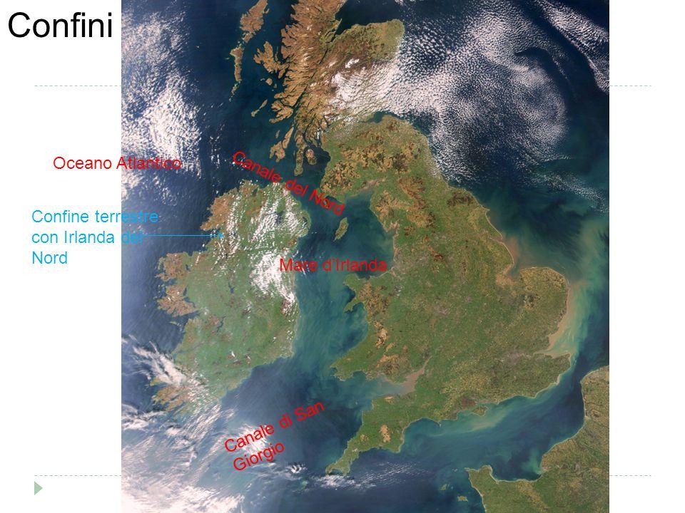 Oceano Atlantico Canale del Nord Mare d'Irlanda Canale di San Giorgio Confine terrestre con Irlanda del Nord Confini