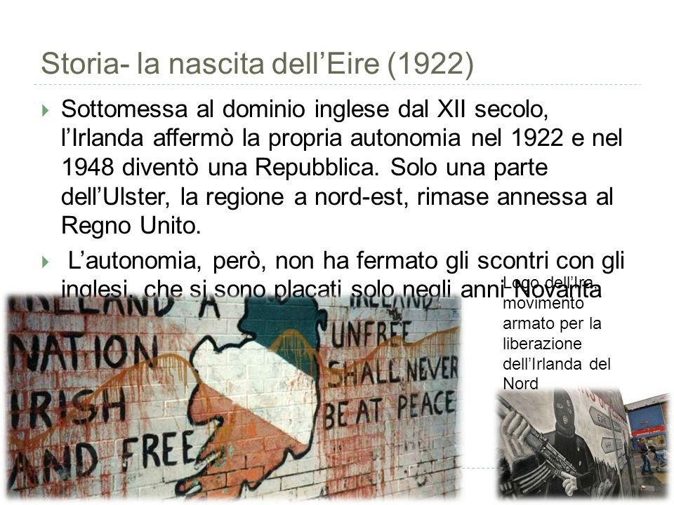 Storia- la nascita dell'Eire (1922)  Sottomessa al dominio inglese dal XII secolo, l'Irlanda affermò la propria autonomia nel 1922 e nel 1948 diventò una Repubblica.