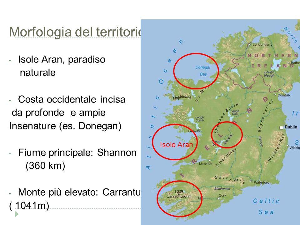 Morfologia del territorio - Isole Aran, paradiso naturale - Costa occidentale incisa da profonde e ampie Insenature (es. Donegan) - Fiume principale: