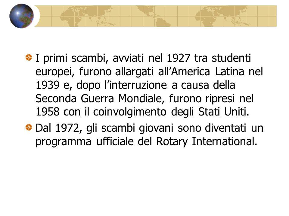 I primi scambi, avviati nel 1927 tra studenti europei, furono allargati all'America Latina nel 1939 e, dopo l'interruzione a causa della Seconda Guerra Mondiale, furono ripresi nel 1958 con il coinvolgimento degli Stati Uniti.