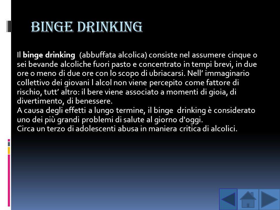BINGE DRINKING Il binge drinking (abbuffata alcolica) consiste nel assumere cinque o sei bevande alcoliche fuori pasto e concentrato in tempi brevi, i