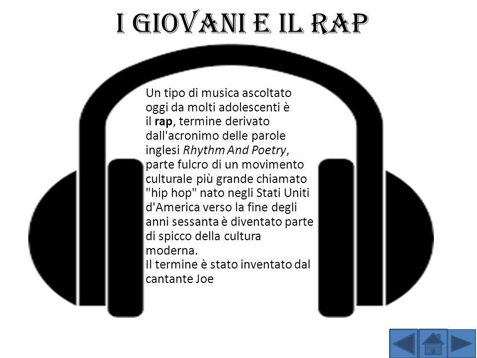I GIOVANI E IL RAP Un tipo di musica ascoltato oggi da molti adolescenti è il rap, termine derivato dall'acronimo delle parole inglesi Rhythm And Poet