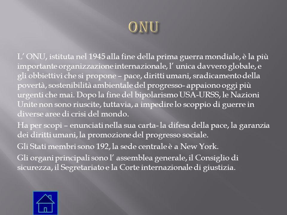 L' ONU, istituta nel 1945 alla fine della prima guerra mondiale, è la più importante organizzazione internazionale, l' unica davvero globale, e gli ob
