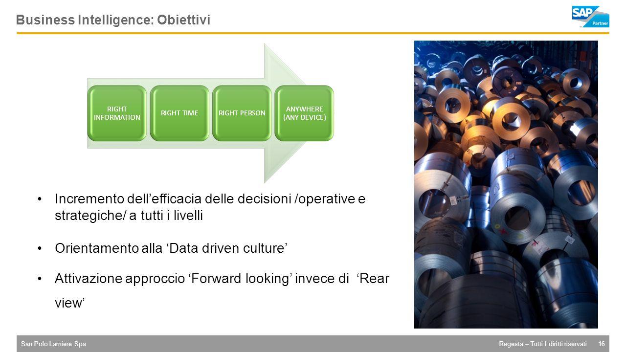San Polo Lamiere Spa16Regesta – Tutti I diritti riservati Business Intelligence: Obiettivi Incremento dell'efficacia delle decisioni /operative e strategiche/ a tutti i livelli Orientamento alla 'Data driven culture' Attivazione approccio 'Forward looking' invece di 'Rear view'