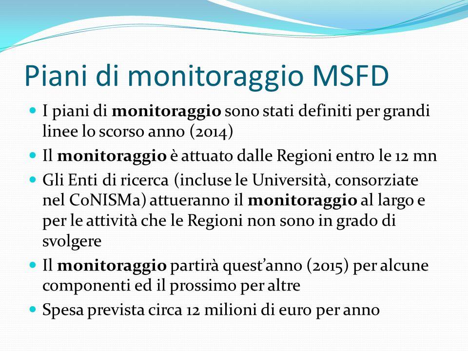 Piani di monitoraggio MSFD I piani di monitoraggio sono stati definiti per grandi linee lo scorso anno (2014) Il monitoraggio è attuato dalle Regioni