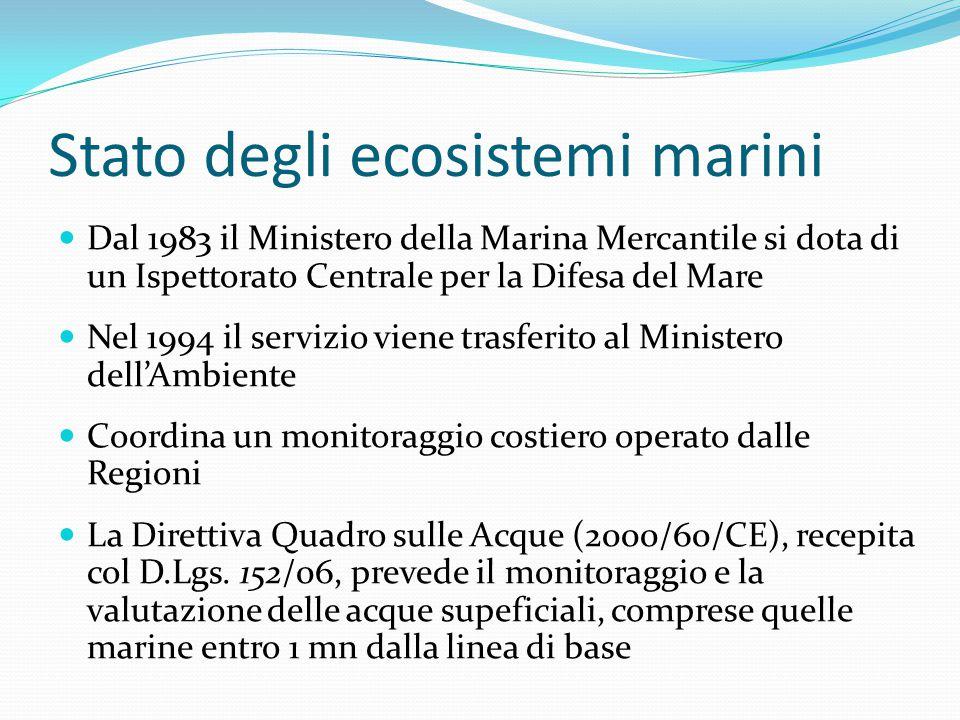 Stato degli ecosistemi marini Dal 1983 il Ministero della Marina Mercantile si dota di un Ispettorato Centrale per la Difesa del Mare Nel 1994 il serv