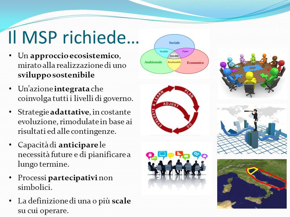 Il MSP richiede… Un approccio ecosistemico, mirato alla realizzazione di uno sviluppo sostenibile Un'azione integrata che coinvolga tutti i livelli di