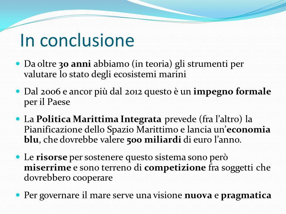 In conclusione Da oltre 30 anni abbiamo (in teoria) gli strumenti per valutare lo stato degli ecosistemi marini Dal 2006 e ancor più dal 2012 questo è