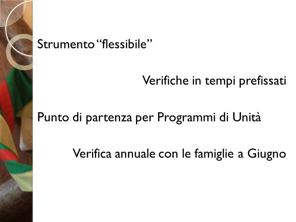 """Strumento """"flessibile"""" Verifiche in tempi prefissati Punto di partenza per Programmi di Unità Verifica annuale con le famiglie a Giugno"""