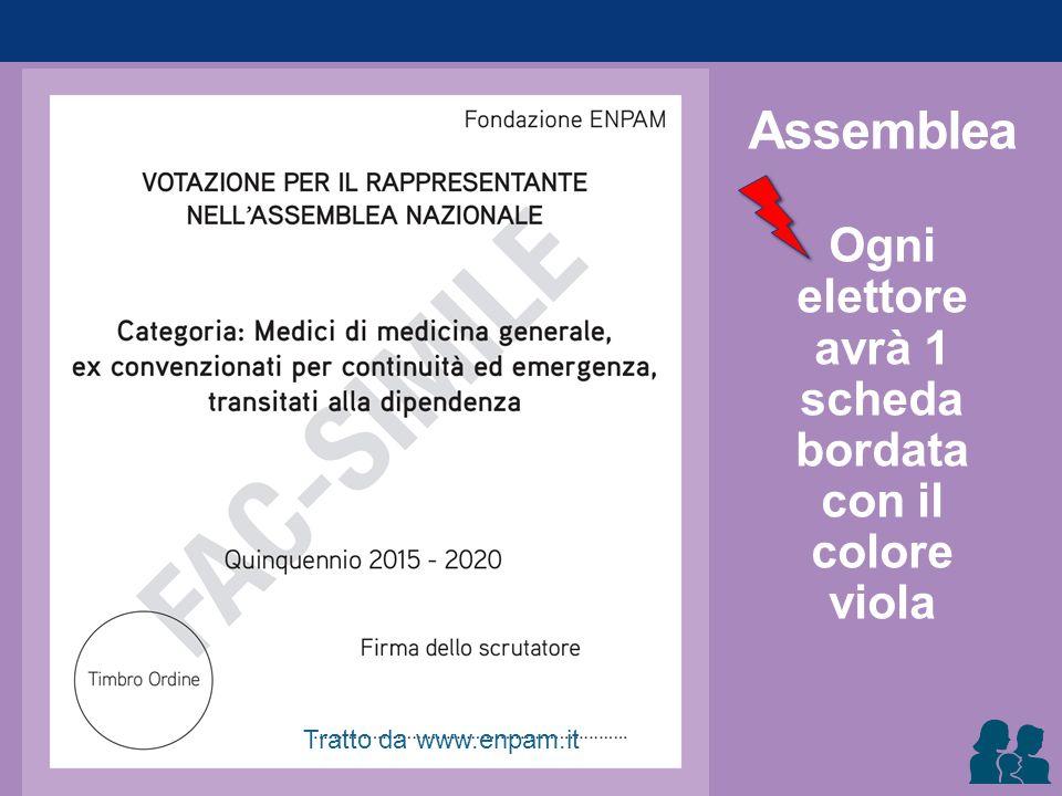 Assemblea Ogni elettore avrà 1 scheda bordata con il colore viola Tratto da www.enpam.it