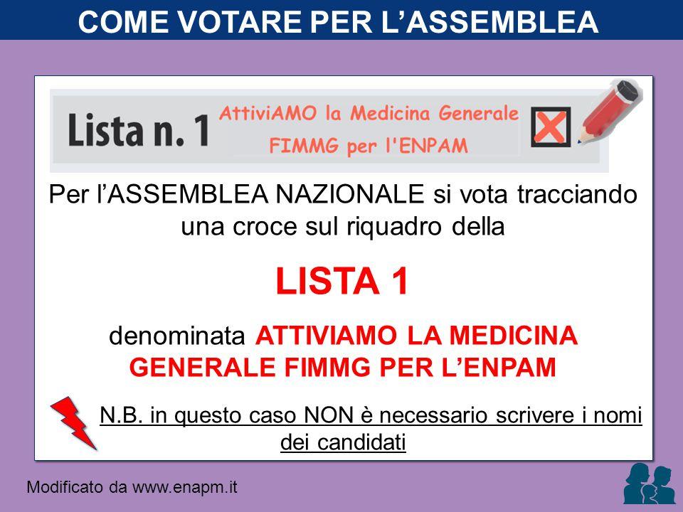 Per l'ASSEMBLEA NAZIONALE si vota tracciando una croce sul riquadro della LISTA 1 denominata ATTIVIAMO LA MEDICINA GENERALE FIMMG PER L'ENPAM N.B.